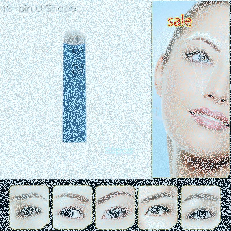 Pin 18 en forma de U S maquillaje permanente de cejas bordado de la lámina para el 3D Microblading tatuaje de la pluma Manual de trazador de líneas redondo Aguja Liner Redonda Tatto anbz #