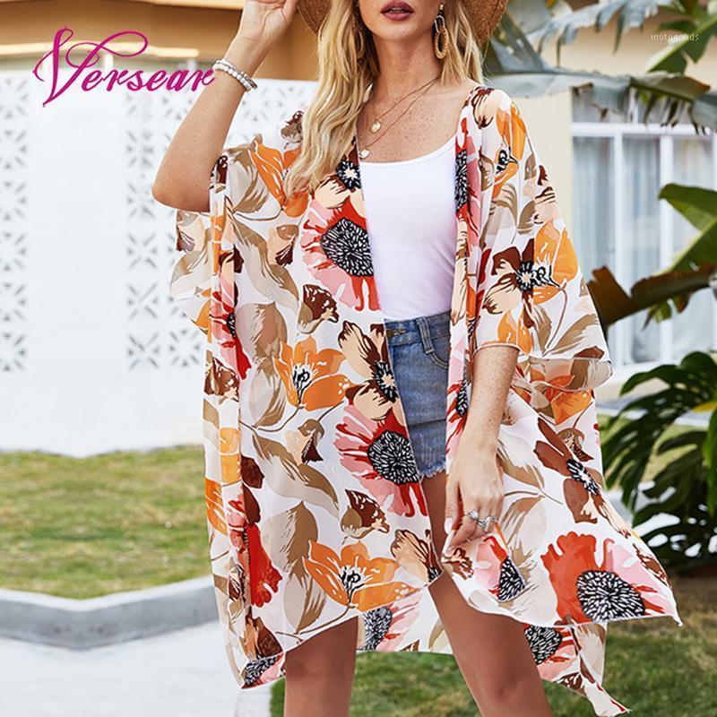 SARONGS VERTER Kadınlar Açık Ön Bluz Yaz Boho Tatil Plaj Bikini Kapak UPS Çiçek Baskı Hırka Batwing Yarım Kollu Rahat Top1