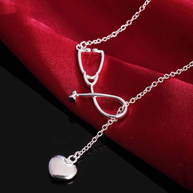 Neue 18 Zoll Silber Herz Anhänger Halskette Für Frau Mann Mode Charme Hochzeit Schmuck Geschenk