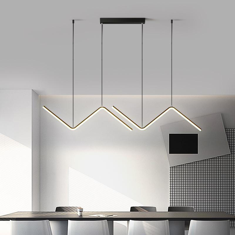 Oro o Nero Semplice LED Chandelier Cucina moderna isola lungo Hanging Luce Ristorante Bar Caffè Ristorante lampada a sospensione Ufficio