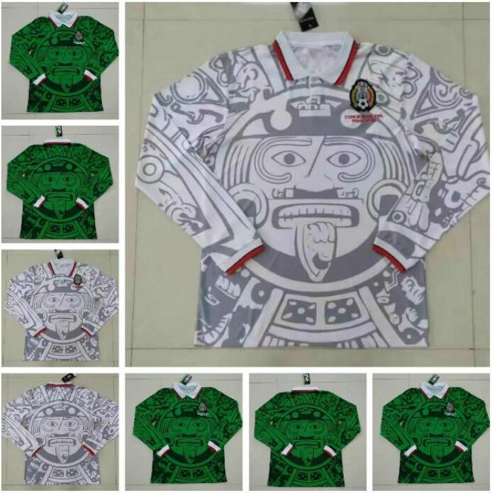 Manga Longa México 1998 Retro Futebol Jerseys Blanco 98 Camisa de Futebol Clássica Hernandez Campos Ramirez Chicharito Lozano 1998 México Jerseys