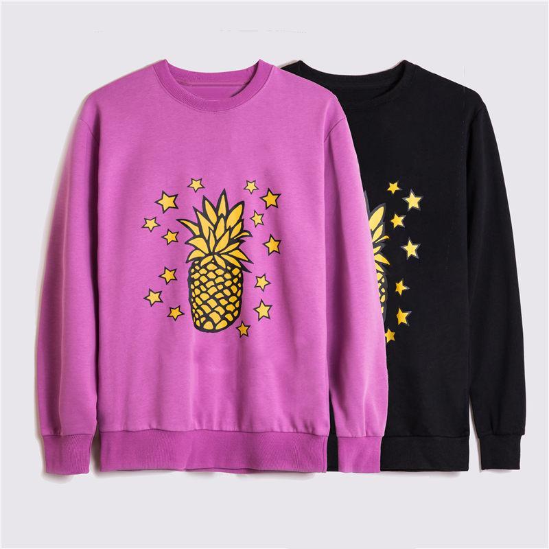 패션 남성 운동복 남성 여성 가을 겨울 긴 소매 후드 스웨터 20ss 빈티지 코지 풀오버 파인애플 별 땀 셔츠