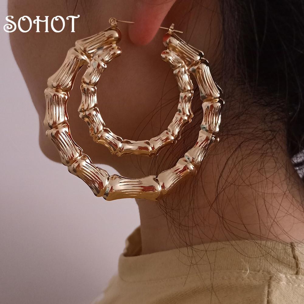 Sohot Hot Vente Hiphop style Double ronde Boucles d'oreilles Steampunk femmes Accessoires Bijoux pour Gypsy mariée mariage Brincos