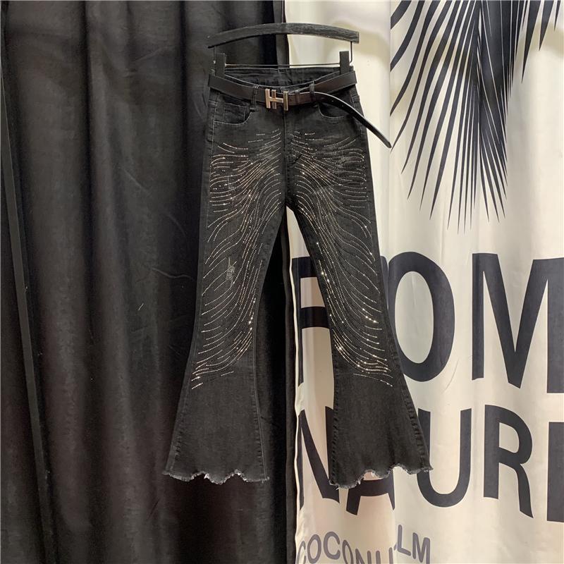 Pantaloni a vita alta denim sottile modo di inverno Nuovi jeans delle donne 2020 Hot coreano strass Harem pantaloni neri Jeans Pantaloni