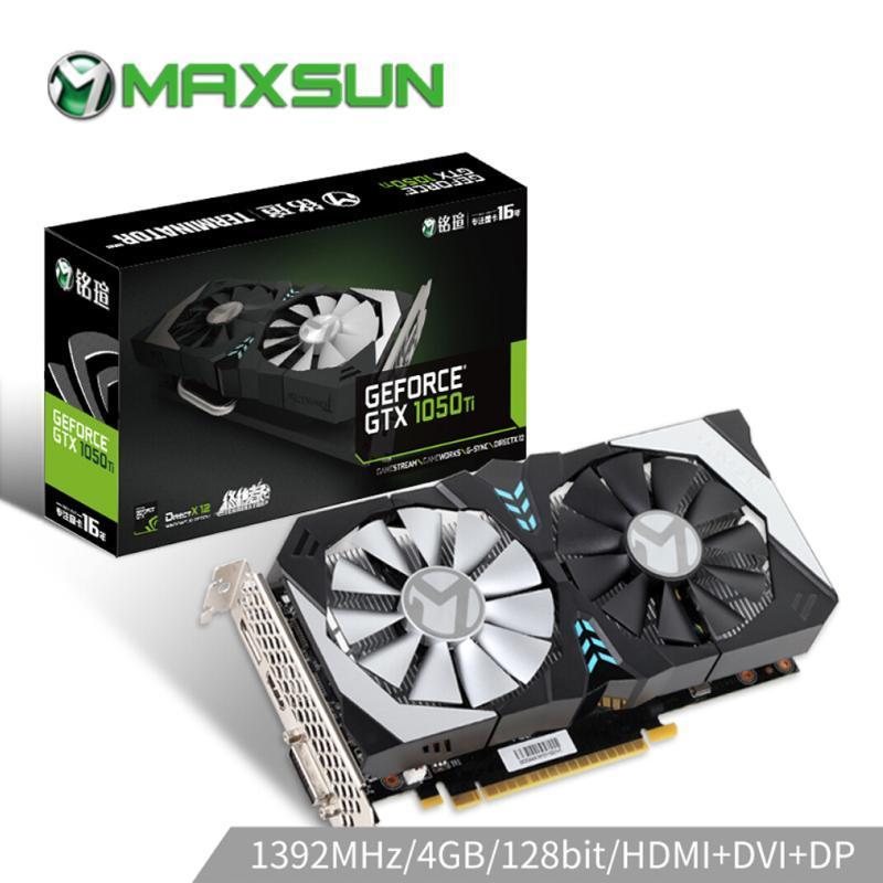 128bit بطاقة MAXSUN الجرافيك GTX 1050Ti المنهي 4G GPU NVIDIA GDDR5 7000MHz 1291-1392MHz 6PIN gtx1050ti بطاقة الفيديو للألعاب