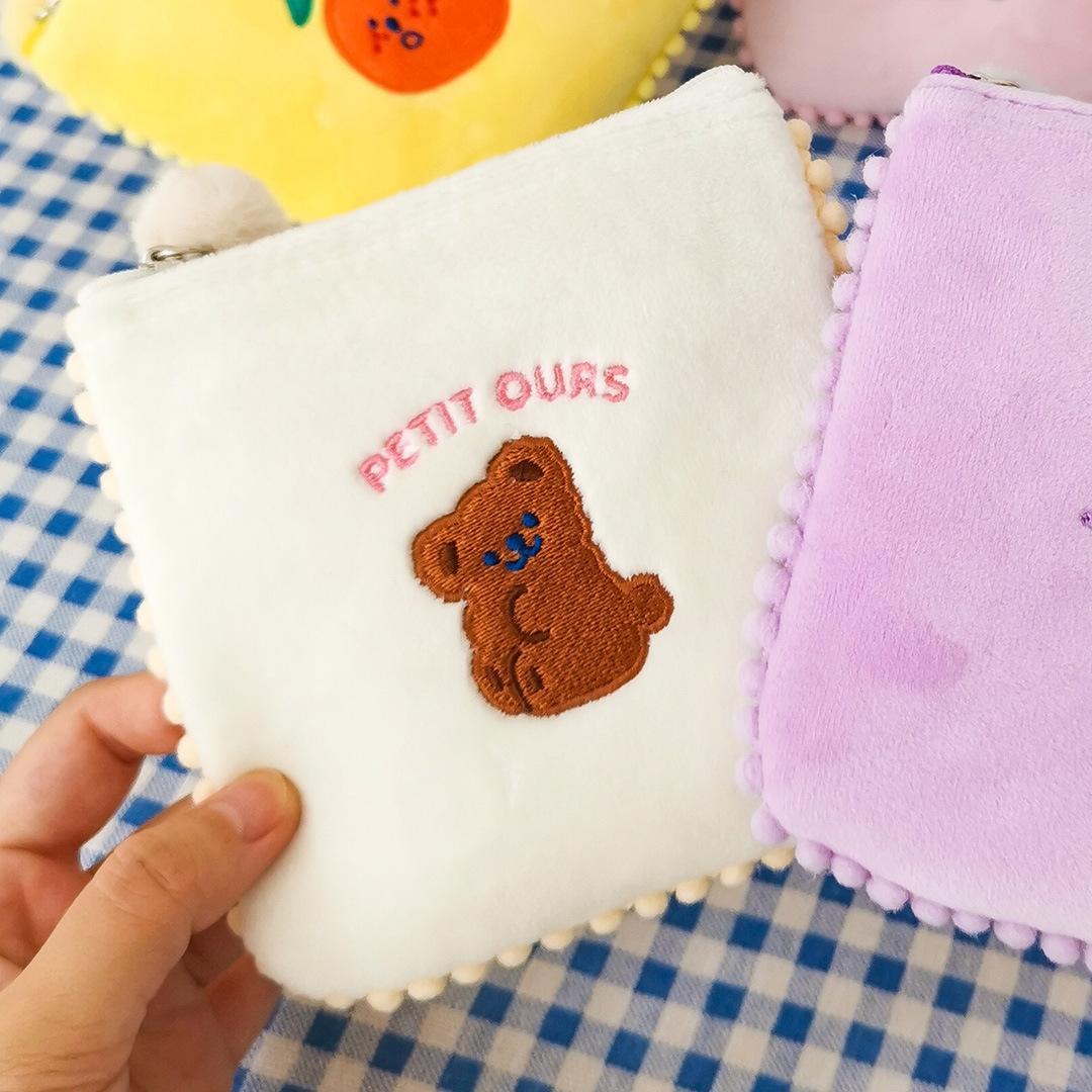 Milkjoy laid tampon d'orange mignon de bande dessinée tampon serviette tante brodé sac de rangement serviette hygiénique serviettes serviette hygiénique sac ynZDS