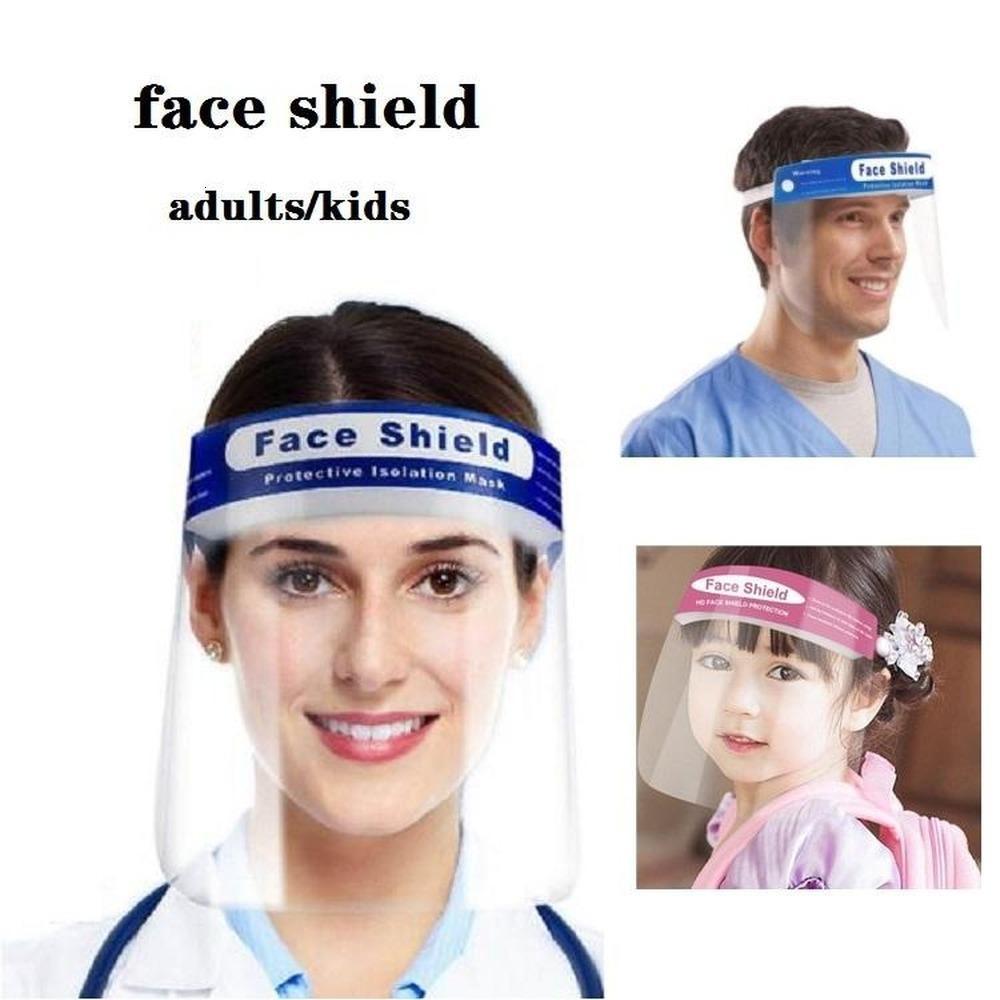 Противотуманно ПЭТ лица безопасности Щит Взрослые Дети Защитная маска анфас Крышка прозрачная Anti-Сплевывание Защитная маска Маска Дизайнерская Маски