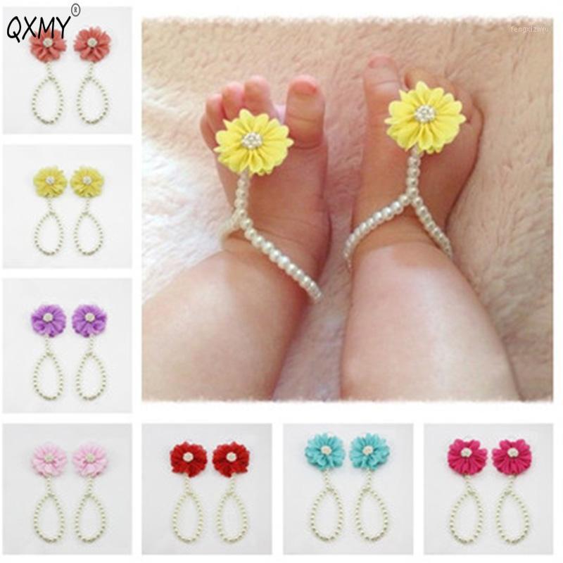 Qxmy bebê pérola anklets sapato moda jóias com flores Chain de pé infantil colorido bolinho anklet acessórios1