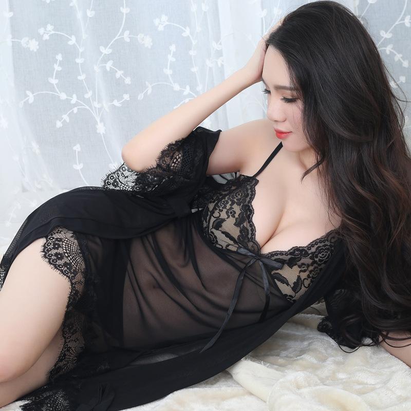 Women's Sleepwear KISBINI 2021 Sexy Nightdress Robe Set 3PC Adult Erotic Perspective Sling Nightgown Underwear Large Size Female