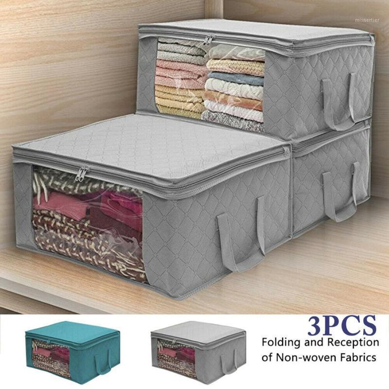 49 * 36 * 21 cm 3 stücke Faltbare Aufbewahrungstasche Kleidung Decke Quilt Schrank Pullover Organizer Box Reißverschluss Vlies Klappschrank Organisieren1