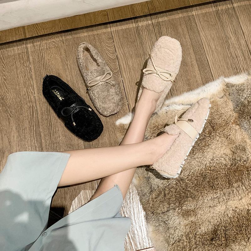 Kabarık Ayakkabı Bayan Kış Giyim Sıcak Kadife Yastıklı Kalınlaşmış Slip-On Gommino Kuzu Yün Platform Yüksekliği Artan Pamuk-Yastıklı Ayakkabı W