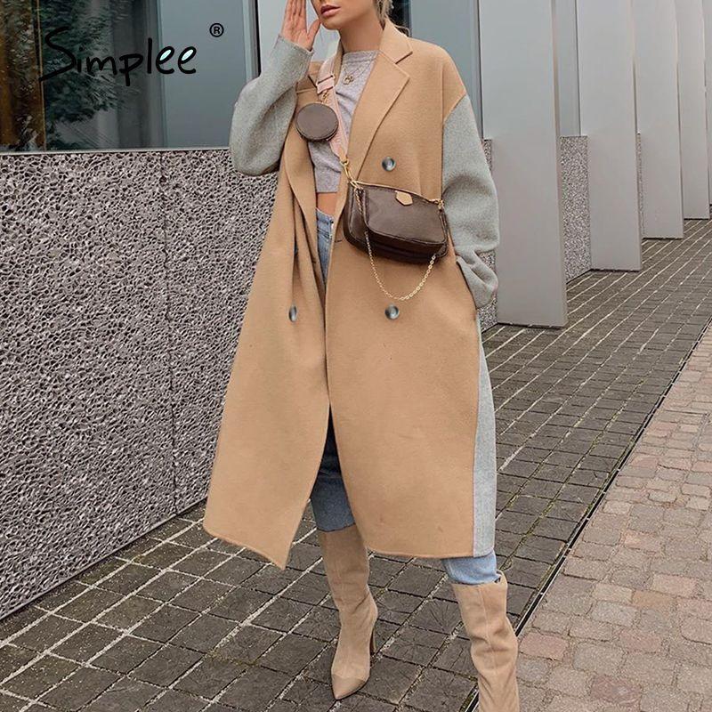 Simplee elegante cammello donna cappotto di lana lungo cause inverno moda inverno giacca cappotti giacca alta strada spaccato caldo autunno cappotto 201103