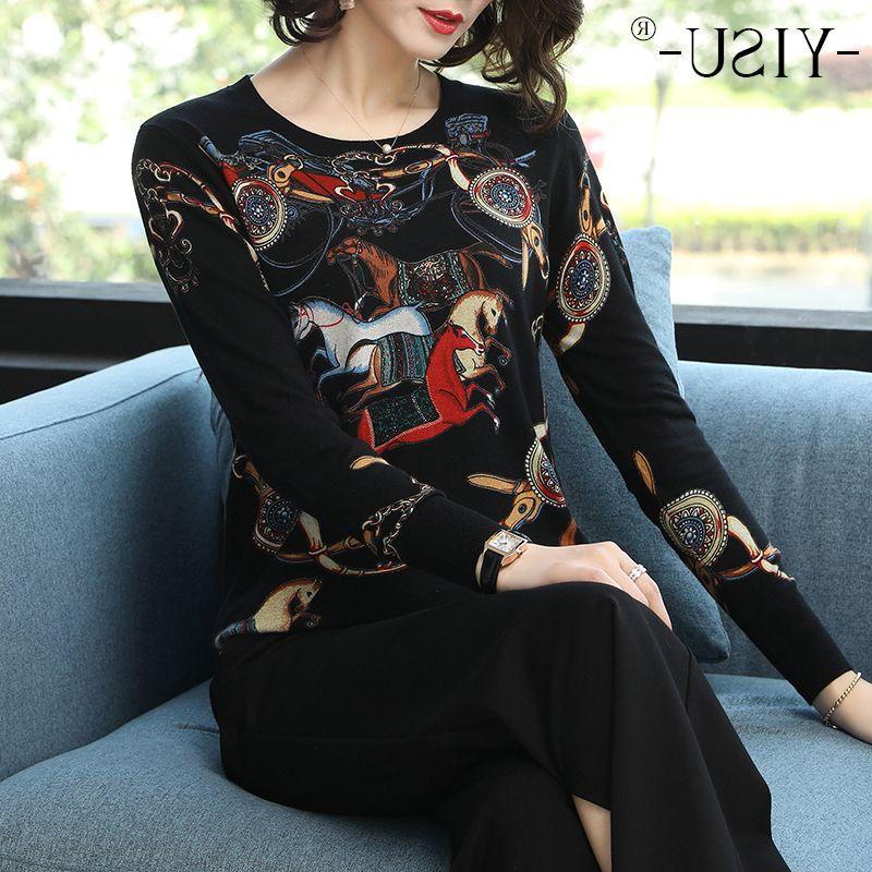 Yisu 2019 Primavera Outono solto malha Cor cavalo impressão Pullover Mulheres O-Neck Tops moda feminina suéter