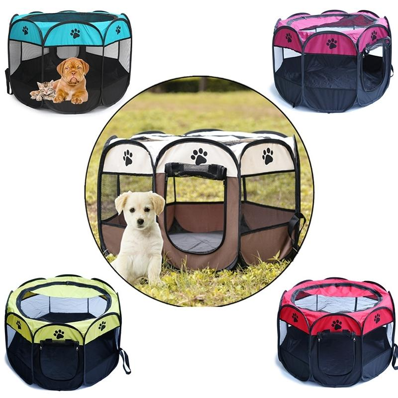 Portable Outdoor pet Octagonal Kennels Folding Fence Houses Cage Dog Cat Tent Playpen Puppy Kennel sofa Supplies