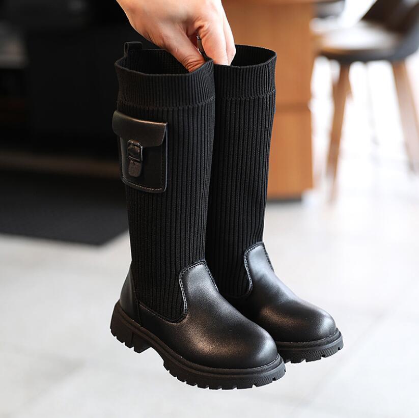 2020 Kar Uzun Çorap Diz Çizmeler Moda Çocuk Sonbahar Kış Prenses Kız Spor Ayakkabı Çocuk Sneakers
