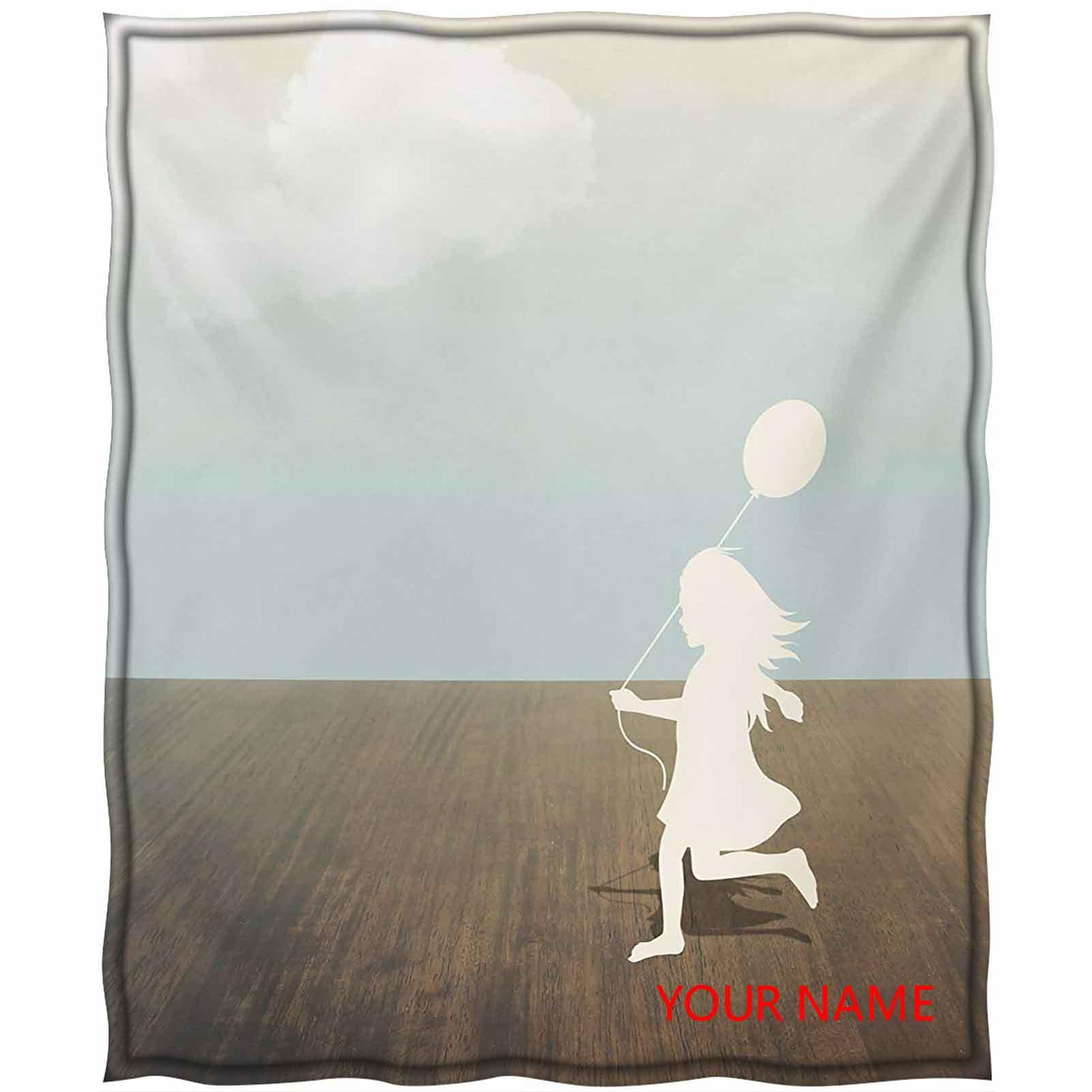 Girls Lightweight Cool Couverture Cool, Silhouette d'une petite fille avec ballon sous le ciel nuageux Soleil Mignon Design Couverture de bricolage, Anniversaire Nous