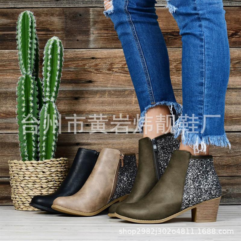 Bling PU Хлопок Ткань Женщины Mid теленок Boots Med квадратным каблуком Круглый Toe смешанные цвета Vintage Winter Boots Плюс Размер обуви