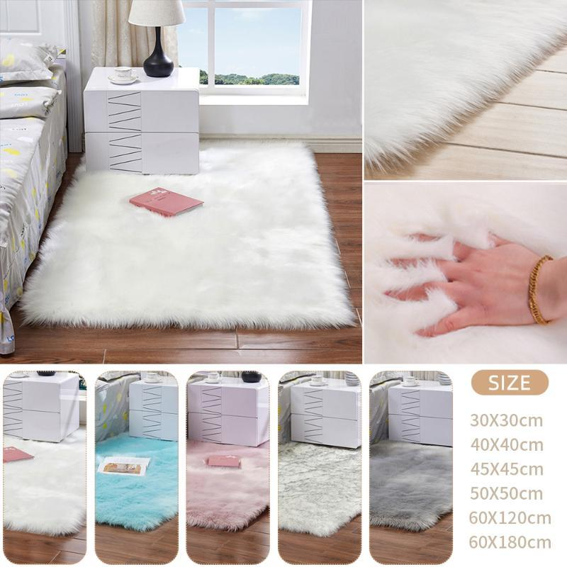 Rectangle Soft Faux Sheepskin Fur Area Rugs Floor Shaggy Silky Plush Carpet White Faux Fur Rug Bedside Rugs for Bedroom