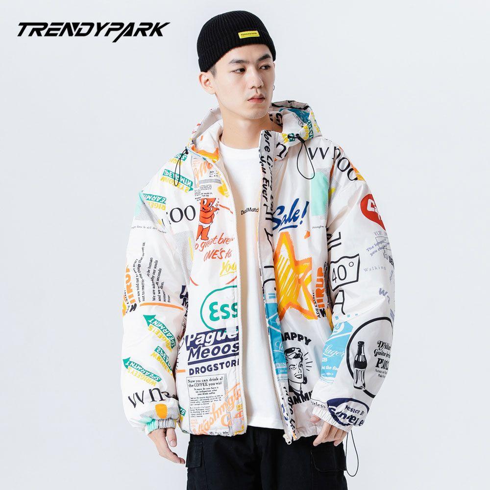 Erkekler Kış Sıcak Ceket Coat Graffiti Harajuku Kapşonlu Isıtmalı Yastıklı Puffer Ceket Oversize Erkek Koreli Parka Erkek Giyim 1111