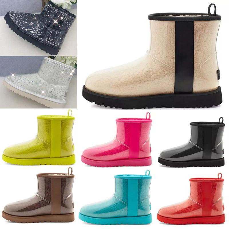 2021 Tasarımcı Kadın Avustralya Avustralya Çizmeler Kış Kar Kürk Kürklü Saten Boot Klasik Temizle Mini 20 Ayak Bileği Patik Deri Açık Havada Ayakkabı