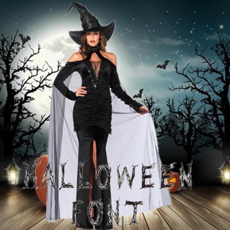 Длинный рукав черной магия ГОТСКОЙ ведьмы Косметика ведьма сексуальных костюмы для взрослых Хэллоуин костюмы