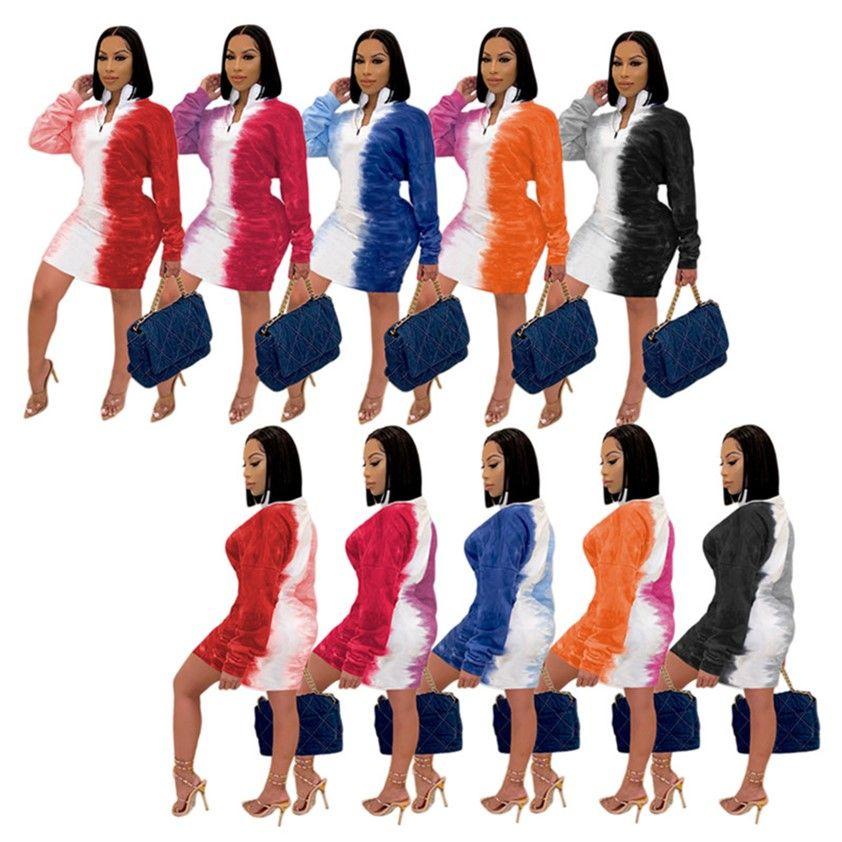 Femmes Pull Robe 3XL Plus Taille Robes De Taille Jupe à manches longues Spring Automne Vêtements Fermeture à glissière Avant Ouverture Avant-Vêtements Loisirs Loisirs Porter Cravate Teed 4413