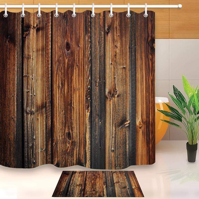 Винтажные деревянные двери для душа занавес мат декоративный водонепроницаемый полиэстер из ткани ванной комнаты с крючками домашняя ванна декор Y200108