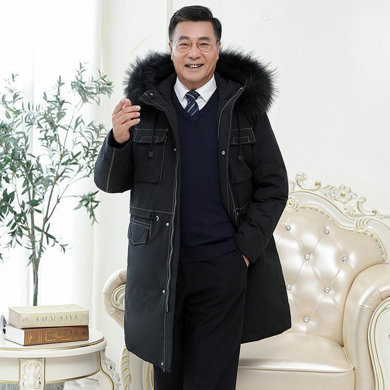 Abrigo de cuello largo de piel de invierno de la chaqueta para hombre 2020 Nuevo Nuevo abrigo envejecido en edad coreano Abrigo grueso de los hombres.