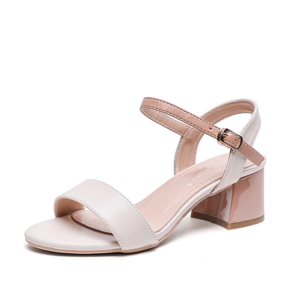 Высокие сандалии Женский насос Новая мода пряжка ремешка мягкая синтетическая кожа толстая каблука твердая вечеринка женские насосы обувь J1208