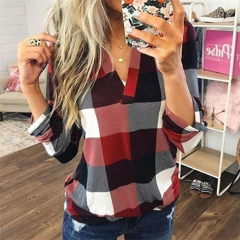 Top e camicette da donna Plus Size Autunno Autunno Plaid Camicetta Plaid Camicette Sexy scollo a V Femminile Camicette Lady Business Blusa Camicetta Top J26 201023
