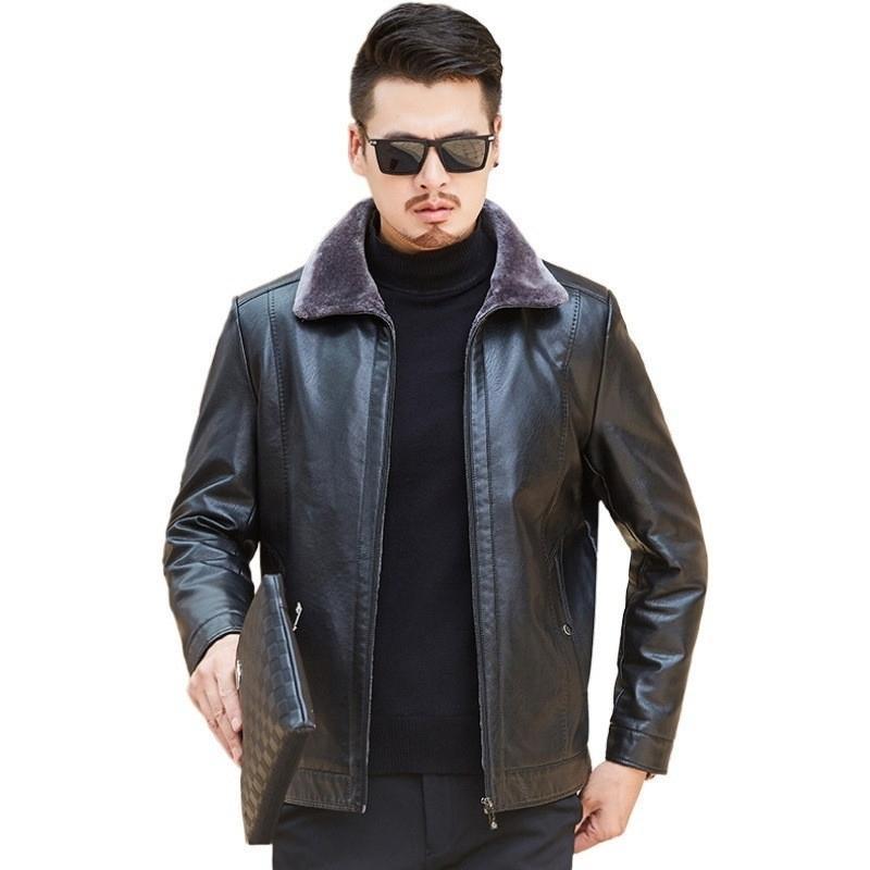 Veste en cuir pour hommes AKSR Hiver plus Veste en cuir taille gras PLUS Velvet Revers Revers Collier Manteau d'âge moyen 201119