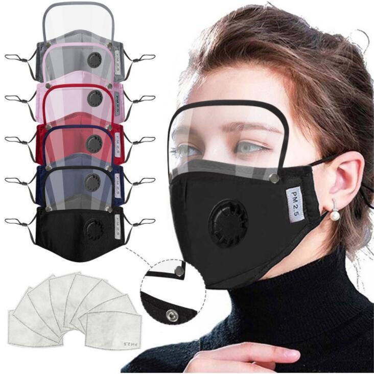 Masks de stock Masks de los EE. UU. Mascarilla de la cara de los niños con el filtro 2 unids 2 en 1 cubierta de la boca cubierta extraíble escudo de ojo máscara de cara anti-polvo adulto máscaras protectoras