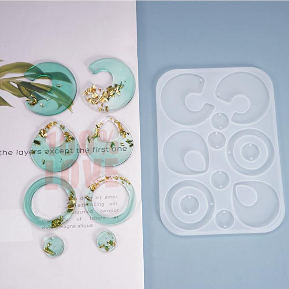 Moule bricolage Cristal Epoxy Boucle d'oreille maison Bijoux Boucle d'oreille en silicone irrégulière Moule