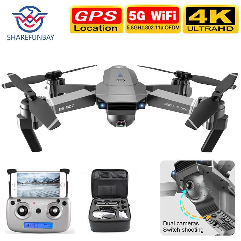 Дрон SG907 GPS дрон камеры HD 1080P 4k 5G WIFI электронный анти-трясти характер последующих Quadcopter беспилотники Двойная камера с