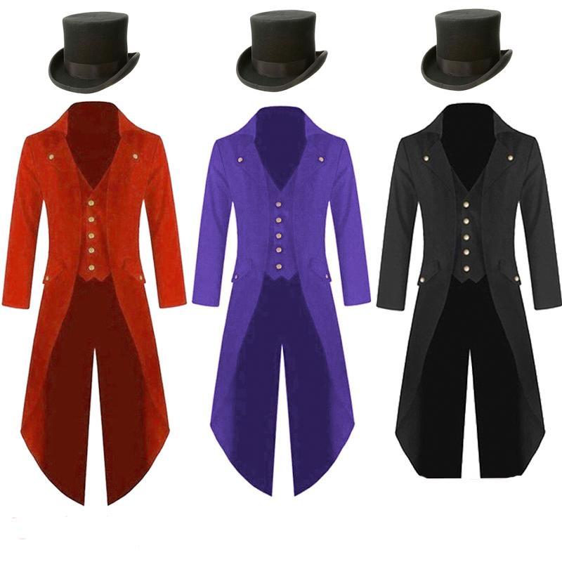 Plus Size 5XL Mens Steampunk costume d'epoca Tailcoat Giacca gotico Mago Ringmaster Cappotto con Magic Hat
