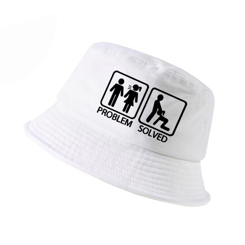 Problem solved lettre chapeau impression seau k hommes femmes pêcheur chapeaux été chapeau de pêche de chasse en plein air Harajuku