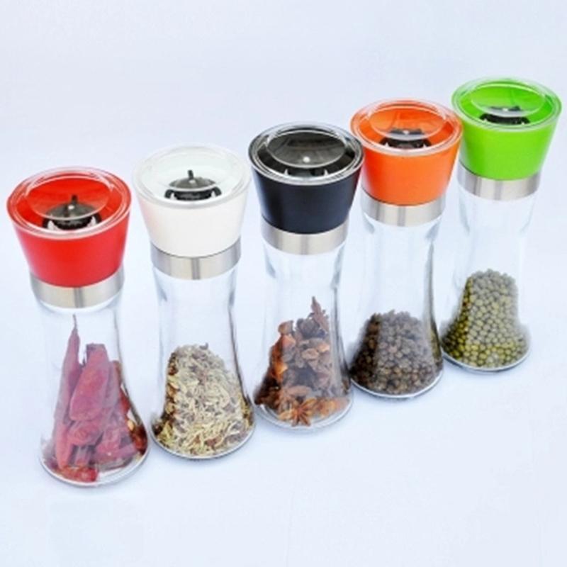 Cucina Creativo Bicchiere di vetro Mulini Grinder Portatile Polvere Polvere Grinder Machine grossolano Grinder Sale Grinder Bottiglia di condimento VTKY2250
