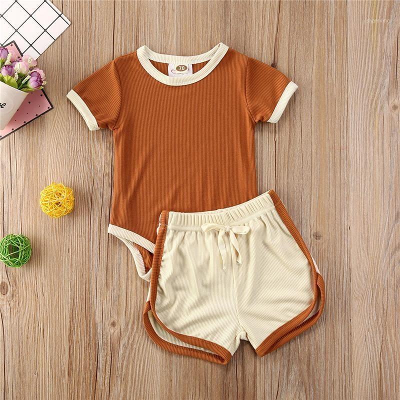 2 stücke Kleinkind Baby Sommer Jungen Mädchen Kleidung Kurzarm T-shirt + Shorts Rippen gestrickte Outfits Kinder Kleidung für Mädchen Sets1