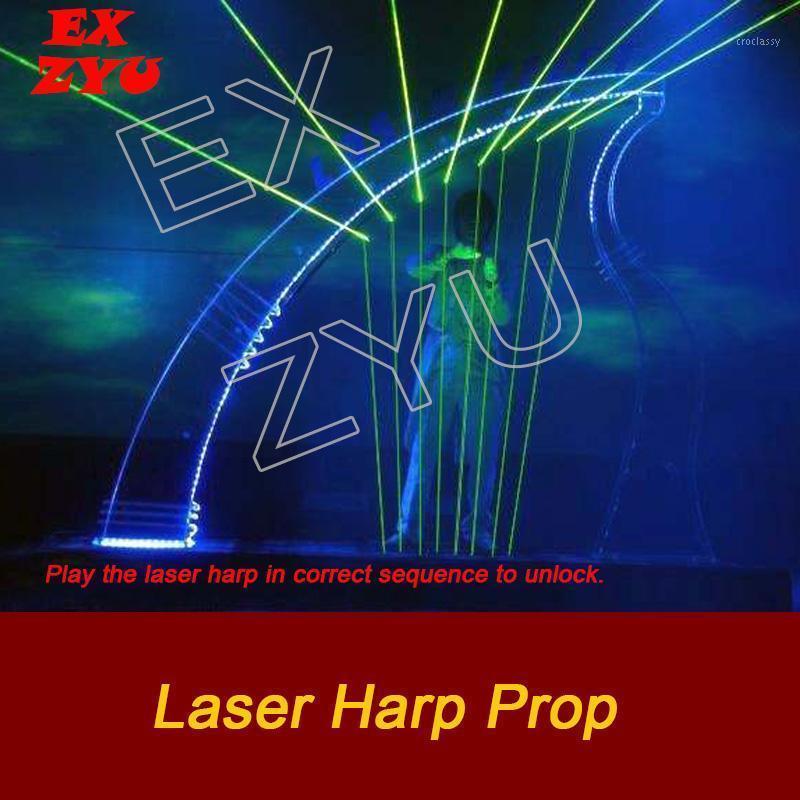 Controle de Acesso de Impressão Digital Exzyu Laser Harp Sobre Sala Escape Real Life Jogando Toque as vigas com ritmo certo para abrir o jogo de quebra-cabeça1