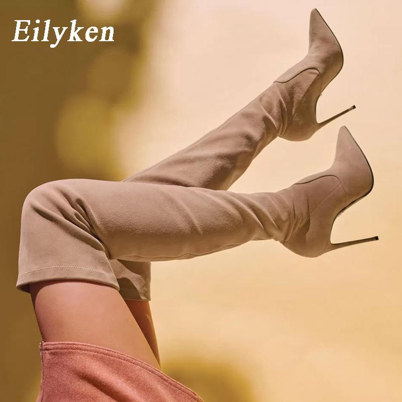 Eilyken sexy sur le genou haut bottes femme troupeau cuir épais talons hauts femmes bottes d'hiver noir abricot brun soirée chaussures LJ201030