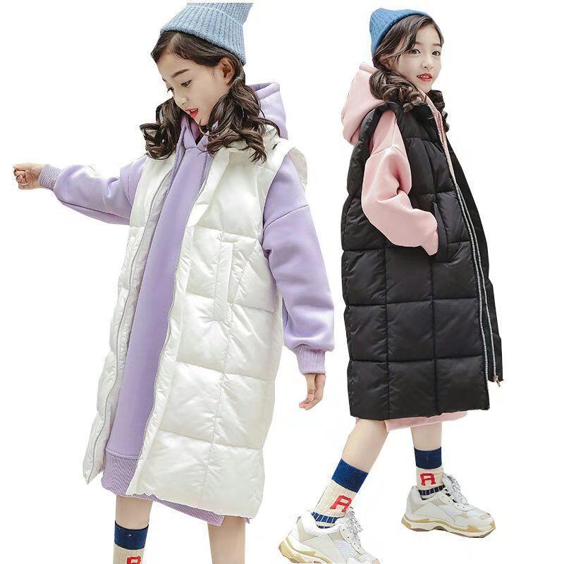 Roupa para meninas Define revestimento do inverno Meninas de Down Costume Vest Crianças Vestuário Velvet Hoodie longo Crianças Treino Adolescente Crianças 10 YX1019