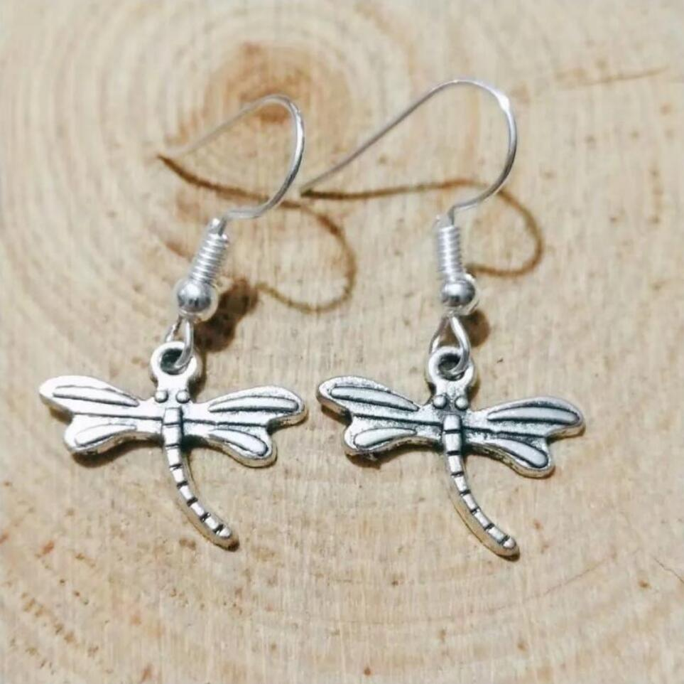 NEW fast shipping Metal Crescent Alloy Pretty dragonfly Earring Friendship Charm Drape Earring DIY Women Jewelry Gifts 228