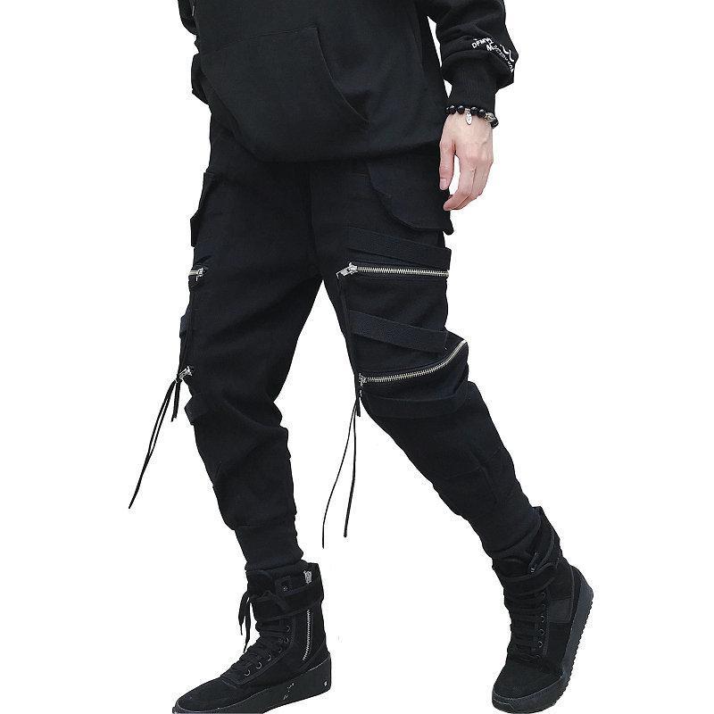 Dropshipping Hop Streetwear Joggers мужчин черный Zipper ленты шаровары Хлопок Повседневный Street Style голеностопного Длина Sweatpants Мужчины 201006