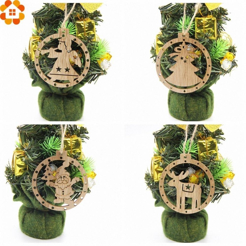 12st DIY runde Weihnachts SnowmanTreeAngle Holz Anhänger Ornamente Weihnachtsfest-Dekoration Weihnachtsbaum Ornamente scherzen Geschenk Fauw #