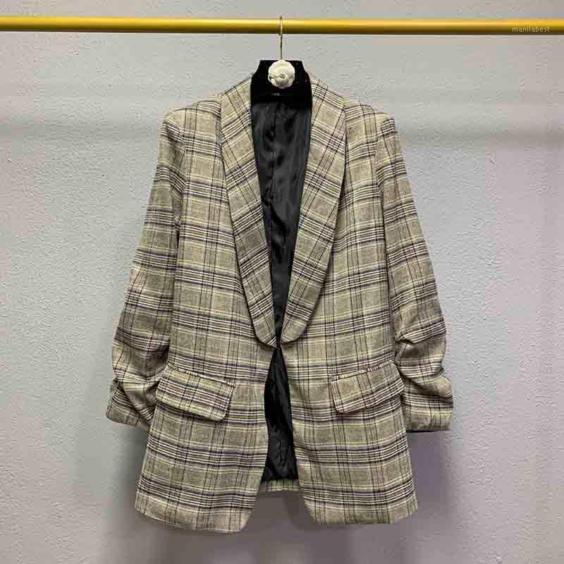 Casual Femme Costume Manteau Haute Qualité Mode Plaid Mesdames Veste Coréen Retro Plissé Blazer Femme Tops sauvages1