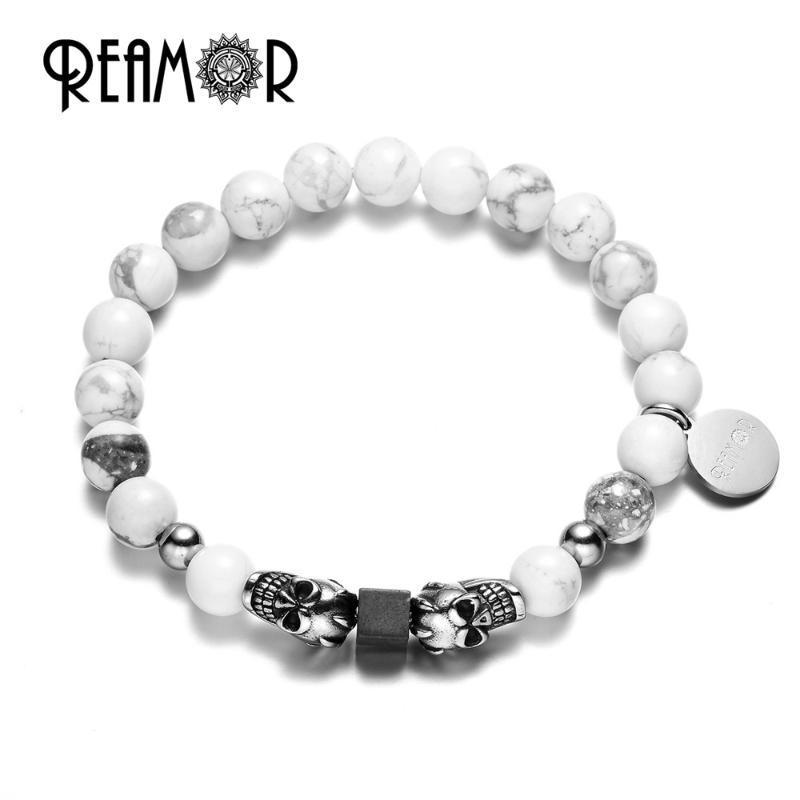 REAAMOR Natürliche weiße Howlite Türkis Stein Perlen Spiel Edelstahl Antike Silber Farbe Armbänder Männer Schmuck