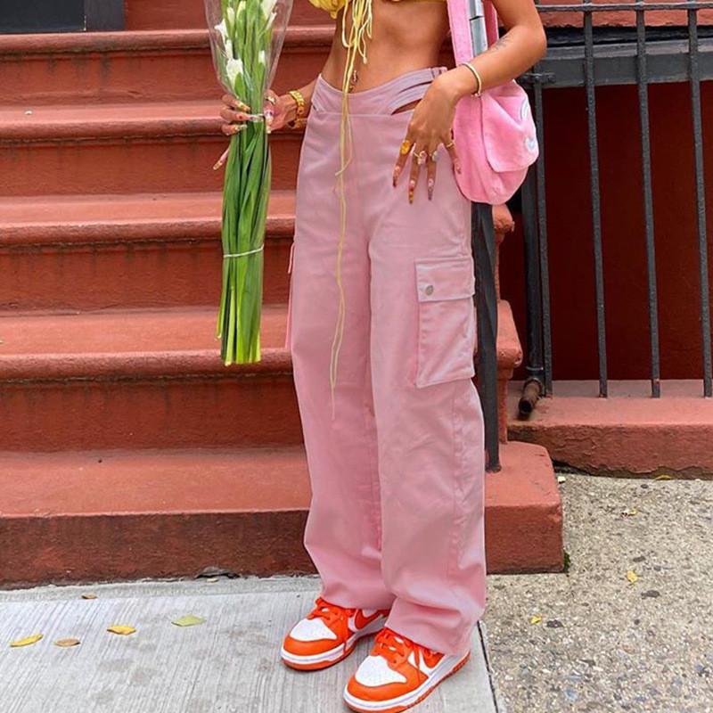 HALLWOL OUT 지퍼 하이 웨이스트 카고 바지 Womens 바지 Streetwear 핑크 포켓 스웨트 팬츠 헐렁한