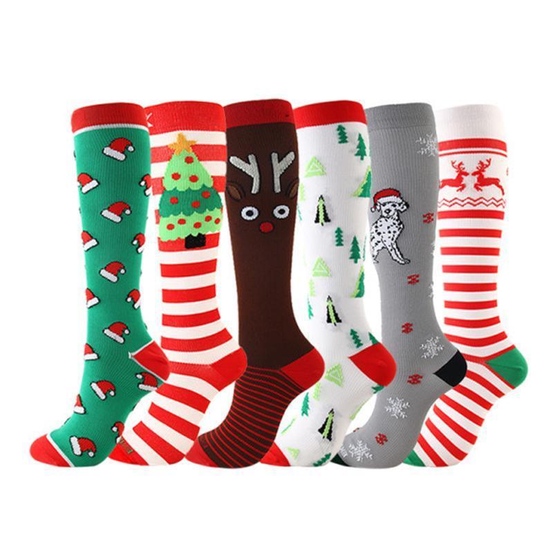 ضغط عيد الميلاد جودة عالية جوارب النساء الرجال الضغط الجوارب ضغط الرياضة نمط تشغيل الركبة عالية النايلون تشغيل الجوارب