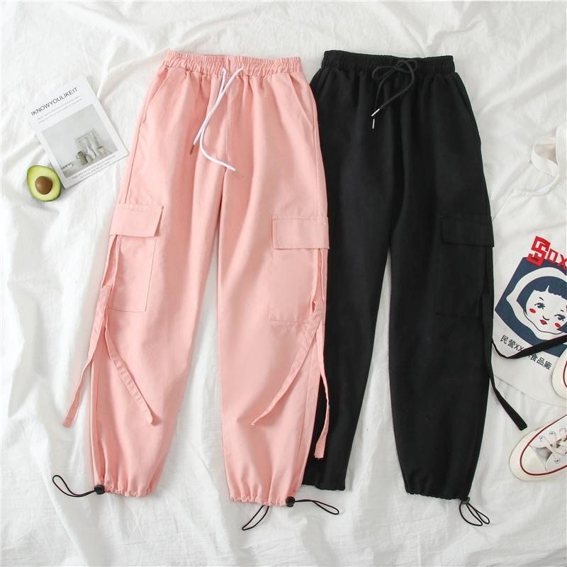 Primavera Calças de Carga Estudante Esporte Casual Sweatpants Mulheres Preto Cintura Alta Cintura Calças Calças Streetwear Swealpants Y200418