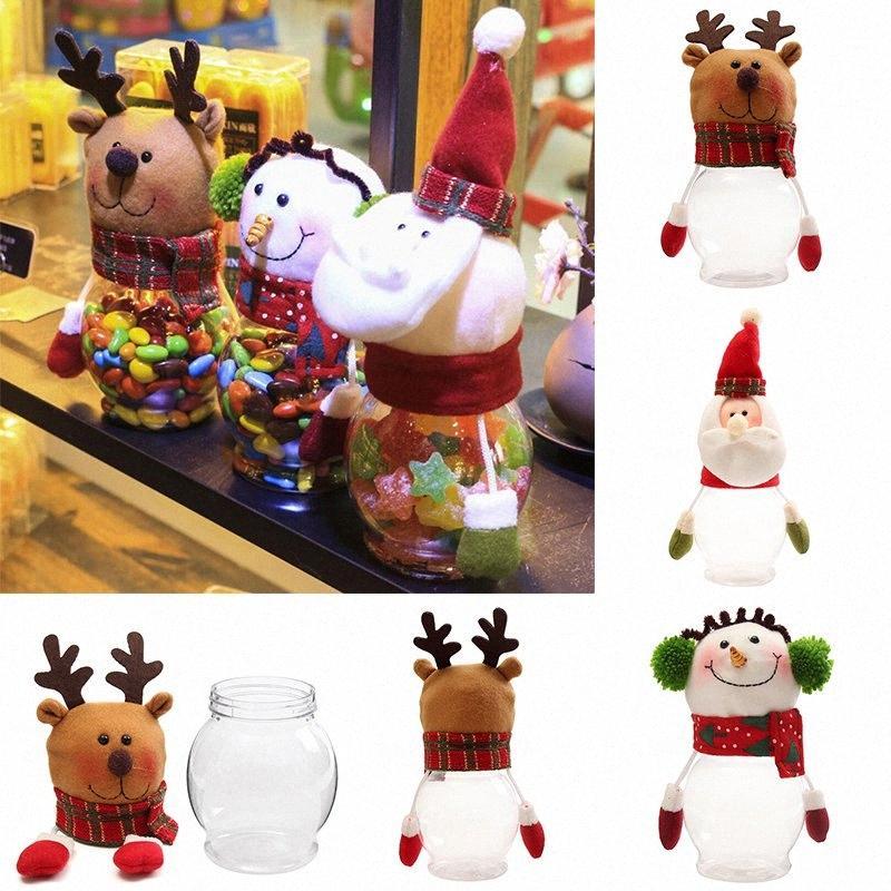 DIY 2019 nuevo de la Navidad Botella de caramelo caja de almacenamiento de un soporte para vasos de contenedores de Navidad regalo de los cabritos de la decoración de Navidad la decoración de la puerta oSuP #